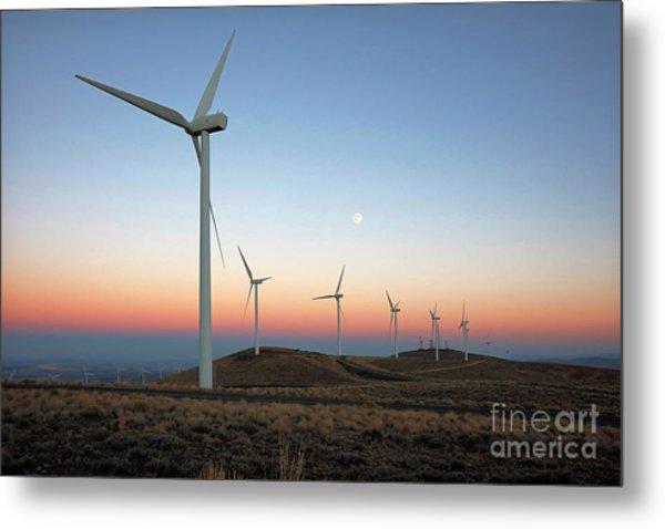 Wind Turbines At Moonrise Metal Print