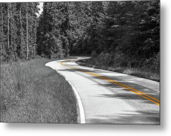 Metal Print featuring the photograph Winding Country Road In Selective Color by Doug Camara