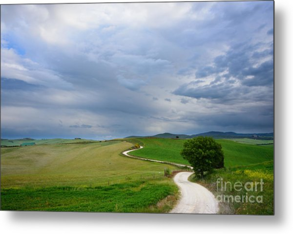 Winding Road To A Destination In A Tuscany Landscape Metal Print