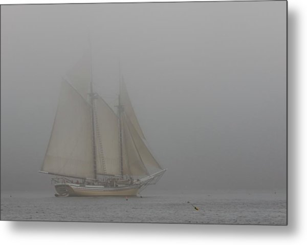 Windjammer In Fog Metal Print