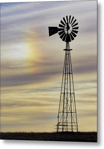 Windmill And Sun Dog Metal Print