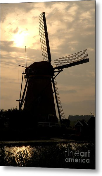 Windmill In Silhouette Metal Print by Andy Smy