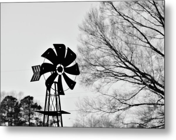 Windmill On The Farm Metal Print