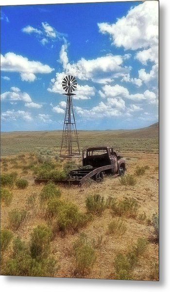 Windmill Over Lenzen Metal Print