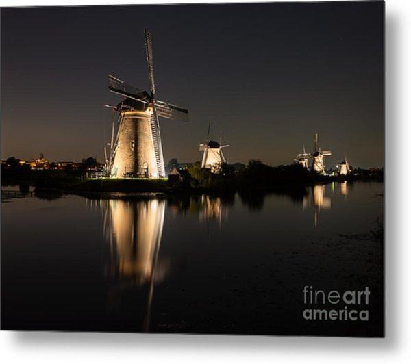 Windmills Illuminated At Night Metal Print