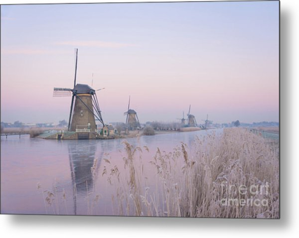 Windmills In The Netherlands In The Soft Sunrise Light In Winter Metal Print