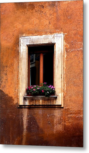 Window And Flowers Rome  Metal Print by Xavier Cardell