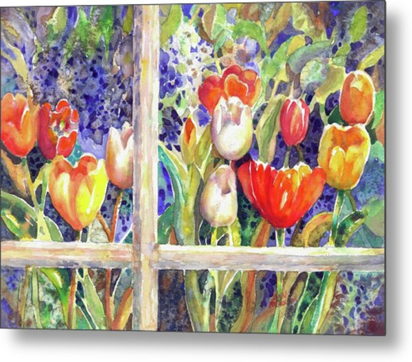Window Box Tulips Metal Print