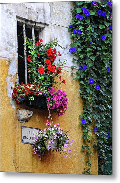 Window Garden In Arles France Metal Print