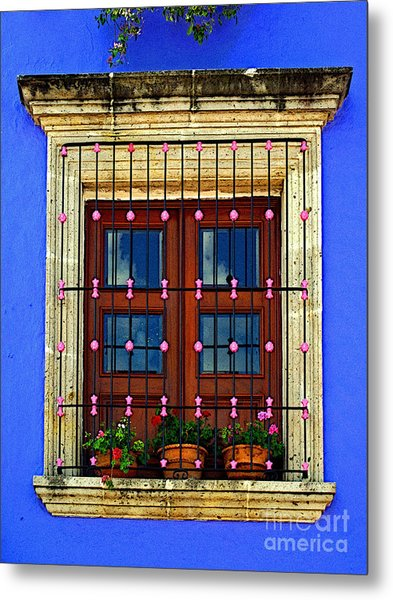 Window In Blue With Baubles Metal Print by Mexicolors Art Photography