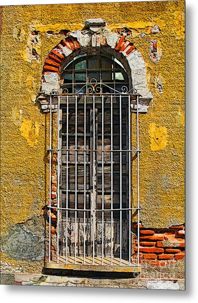 Window In The Yellow Wall By Darian Day Metal Print by Mexicolors Art Photography