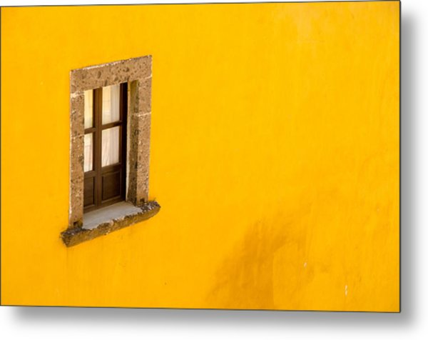 Metal Print featuring the photograph Window On A Yellow Wall. by Rob Huntley