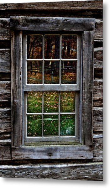 Window Reflection At Mabry Mill Metal Print