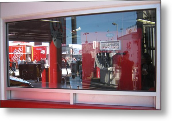 Window Reflections At The Speedway Metal Print