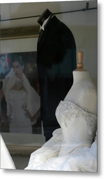 Window Wedding Attire Metal Print