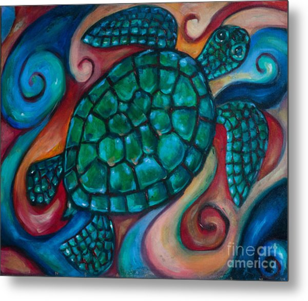 Windowpane Sea Turtle Metal Print by Linda Olsen