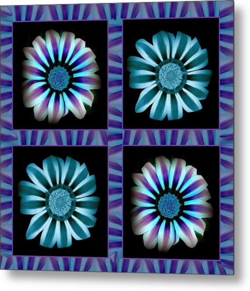 Windowpanes Brimming With  Moonburst Stripes Of Flowers - Scene 2 Metal Print by Jacqueline Migell