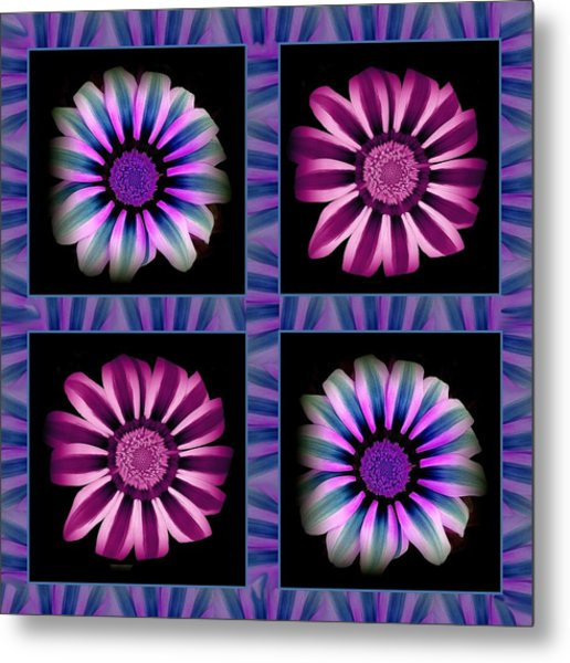 Windowpanes Brimming With  Moonburst Stripes Of Flowers - Scene 5 Metal Print by Jacqueline Migell