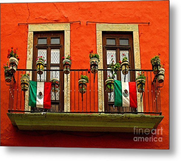Windows With Flags Metal Print by Mexicolors Art Photography