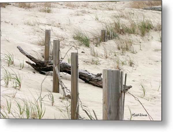 Windswept Beach Fence Cape Cod Massachusetts Metal Print