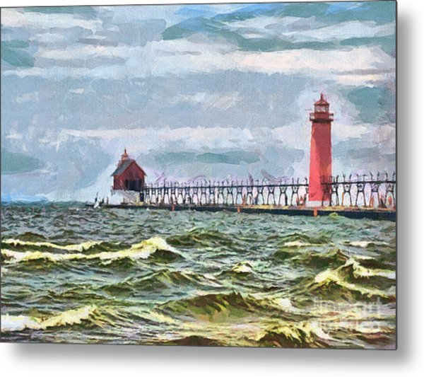 Windy Day At Grand Haven Lighthouse Metal Print