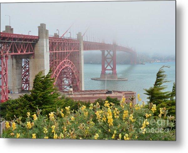 Windy Foggy Golden Gate Bridge  Metal Print