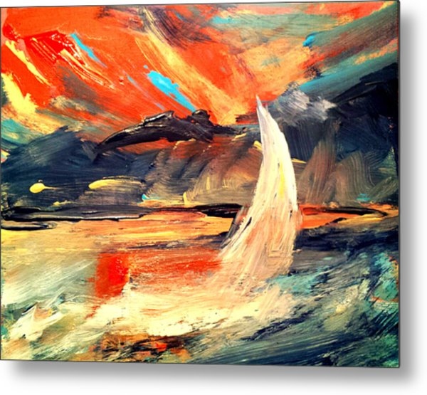 Windy Sail Metal Print