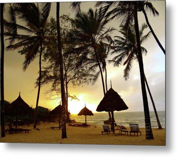 Windy Sunrise On The Beach In Kenya Metal Print
