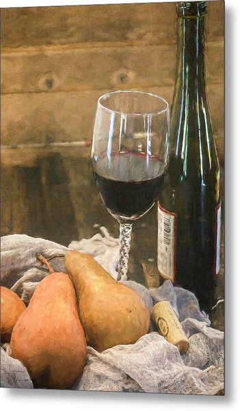 Wine And Pears Metal Print