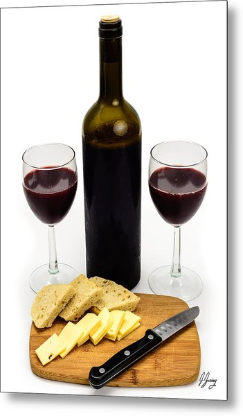 Wine Bottle With Glasses, Cheese And Bread Metal Print