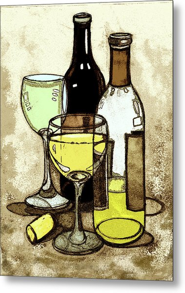 Wine Bottles And Glasses Metal Print by Peggy Wilson