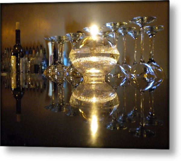 Wine By Candle Light Metal Print