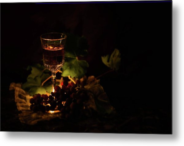 Wine Glass And Grapes Metal Print