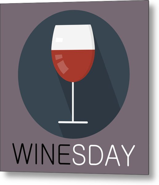 Wine Poster Print - It's Winesday Metal Print