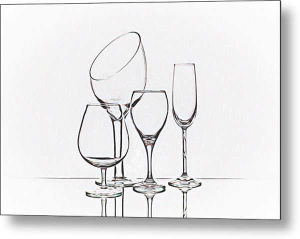 Wineglass Graphic Metal Print