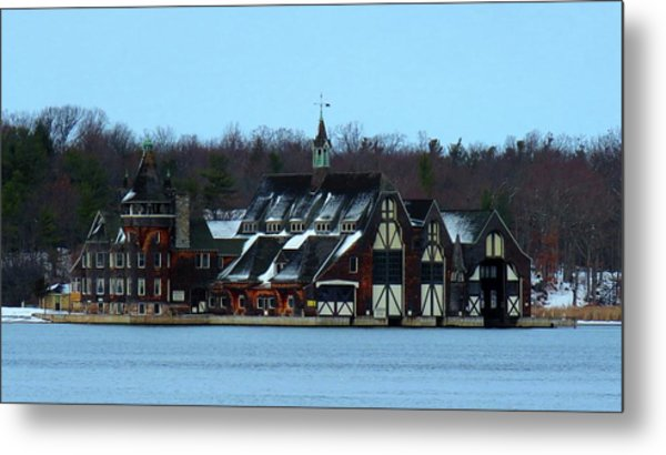 Snow On Boldt Castle Yacht House Metal Print