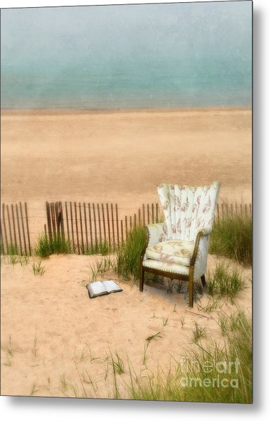 Wingback Chair At The Beach Metal Print