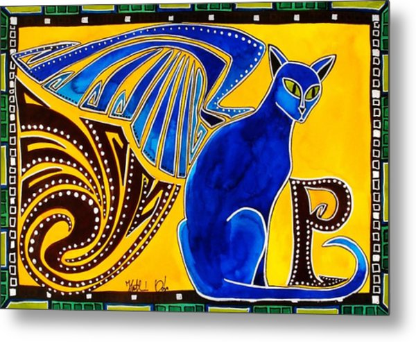 Winged Feline - Cat Art With Letter P By Dora Hathazi Mendes Metal Print