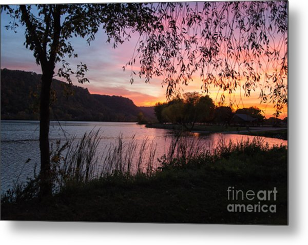 Metal Print featuring the photograph Winona Minnesota Pink Sunset With Branches by Kari Yearous