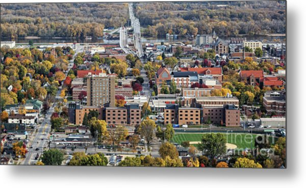 Metal Print featuring the photograph Winona Minnesota With University And Bridge by Kari Yearous
