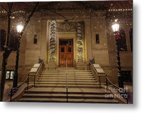 Metal Print featuring the photograph Winona Public Library On A Snowy Night by Kari Yearous