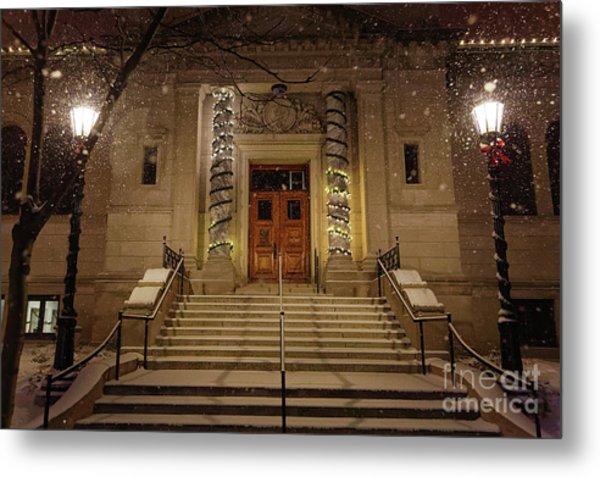 Winona Public Library On A Snowy Night Metal Print