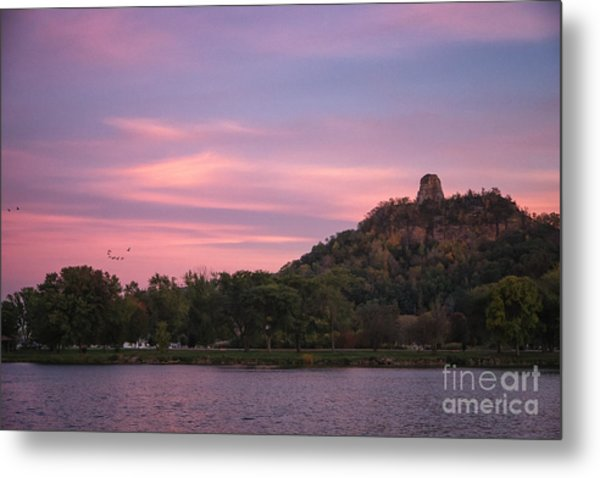 Metal Print featuring the photograph Winona Sugarloaf Pink Skies With Geese by Kari Yearous