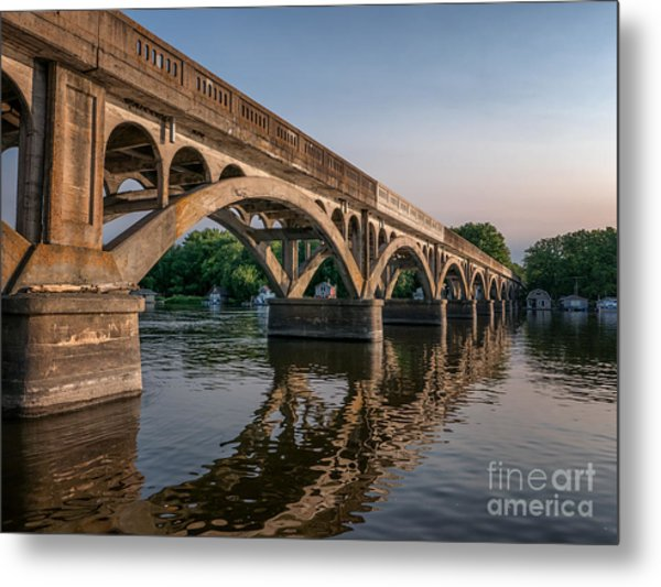 Metal Print featuring the photograph Winona Wagon Bridge With Boathouses by Kari Yearous