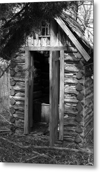 Winslow Log Outhouse Metal Print by Curtis J Neeley Jr