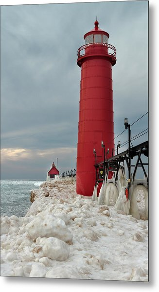Metal Print featuring the photograph Winter At Grand Haven Lighthouse by Susan Rissi Tregoning