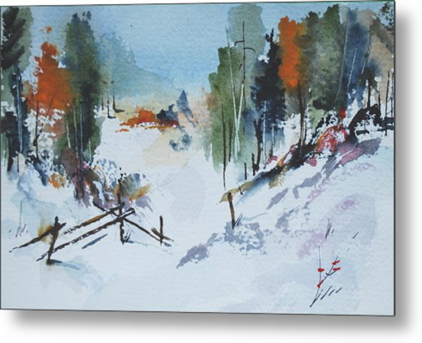 Winter At Marble Farm Metal Print by Wilfred McOstrich