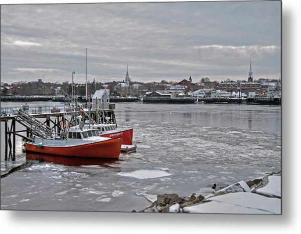 Winter At Newburyport Harbor Metal Print