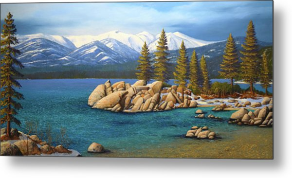 Winter At Sand Harbor Lake Tahoe Metal Print