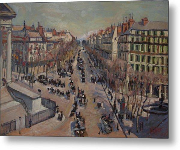 Winter At The Boulevard De La Madeleine, Paris Metal Print